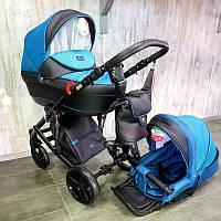 """Всесезонная детская коляска 2 в 1 """"POLO"""" черно-голубая"""