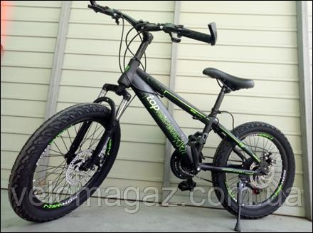 """Велосипед TopRider 509 20"""" детский двухколесный черно-зеленый"""