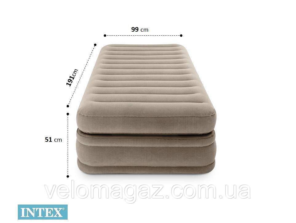 Надувне ліжко односпальне з вбудованим насосом Intex 64444