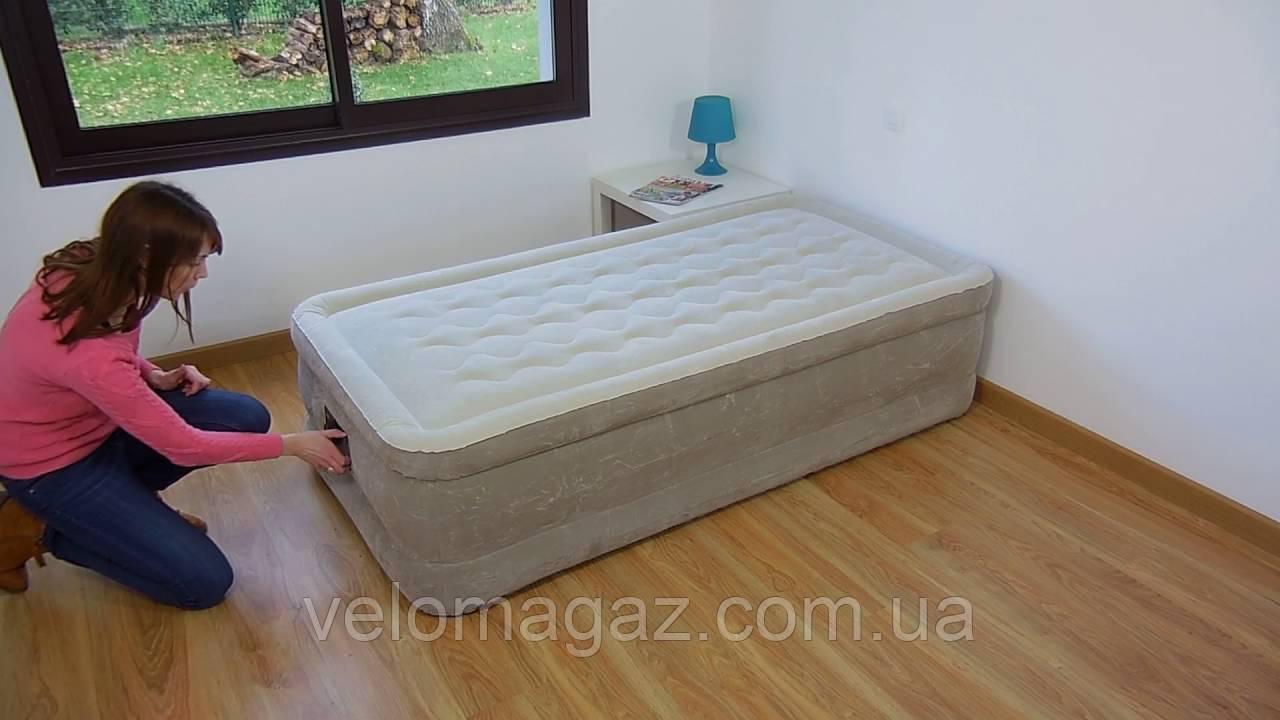 Надувная кровать односпальная с встроенным насосом Intex 64456