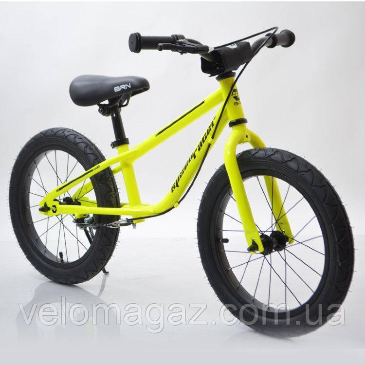 """Детский беговел с ручным тормозом 16""""(BRN)B-2 Light Green, салатовый, Air wheels"""
