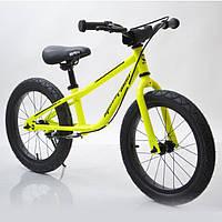 """Детский беговел с ручным тормозом 16""""(BRN)B-2 Light Green, салатовый, Air wheels, фото 1"""