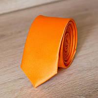 Галстук мужской узкий однотонный (оранжевый) | Lan Franko