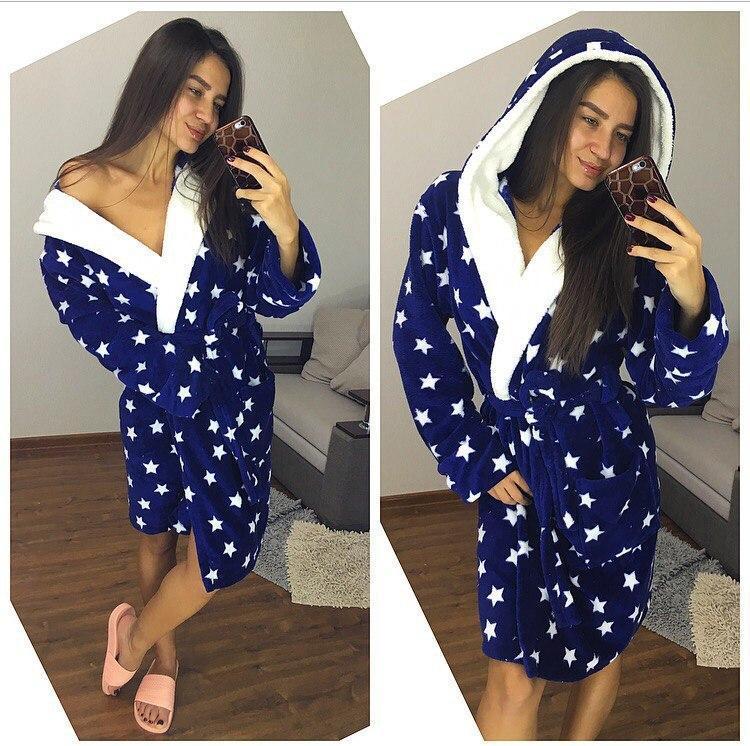 Женский плюшевый домашний халат в звёздочку