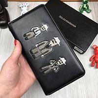 Оригинальный кожаный кошелек Dolce&Gabbana черный с нашивкой кожа женский мужской бумажник Дольче реплика