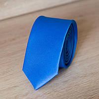 Галстук мужской узкий однотонный (синий) | Lan Franko