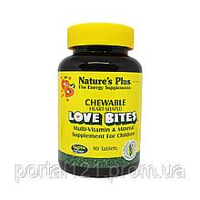 Дитячий Мультивітамінний і Мультиминеральный Комплекс, Love Bites, Natures Plus, 90 таблеток