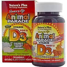 Вітамін D3 для Дітей, Смак Чорної Вишні, Animal Parade, Natures Plus, 90 жувальних таблеток