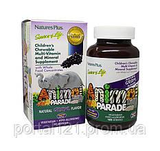 Мультивітаміни для Дітей, Смак Винограду, Animal Parade, Natures Plus, 180 жувальних таблеток