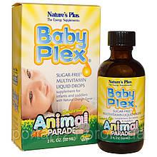 Рідкі Вітаміни для Немовлят, Апельсин, Baby Plex, Animal Parade, Natures Plus, 60мл