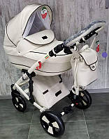 """Всесезонна дитяча коляска 2 в 1 """"POLO"""" WHITE, ЕКОШКІРА"""