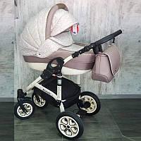 """Универсальная всесезонная детская коляска 2 в 1 """"Michelle"""" White-Biege"""