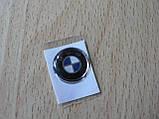 Наклейка s круглая BMW 15х15х1.3мм стандарт силиконовая эмблема в круге на авто ключи сигнализацию БМВ, фото 3