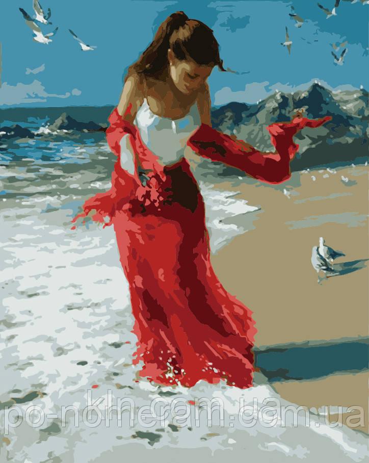 Картина по номерам Menglei MG1059 Прогулка по пляжу  40 х 50 см