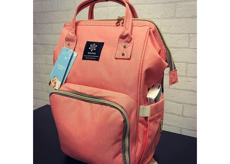 Персиковый Рюкзак сумка для мам и детей XIMIRAN термокарманы, USB выход