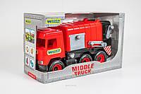 Игрушечный мусоровоз красный Middle Truck Wader