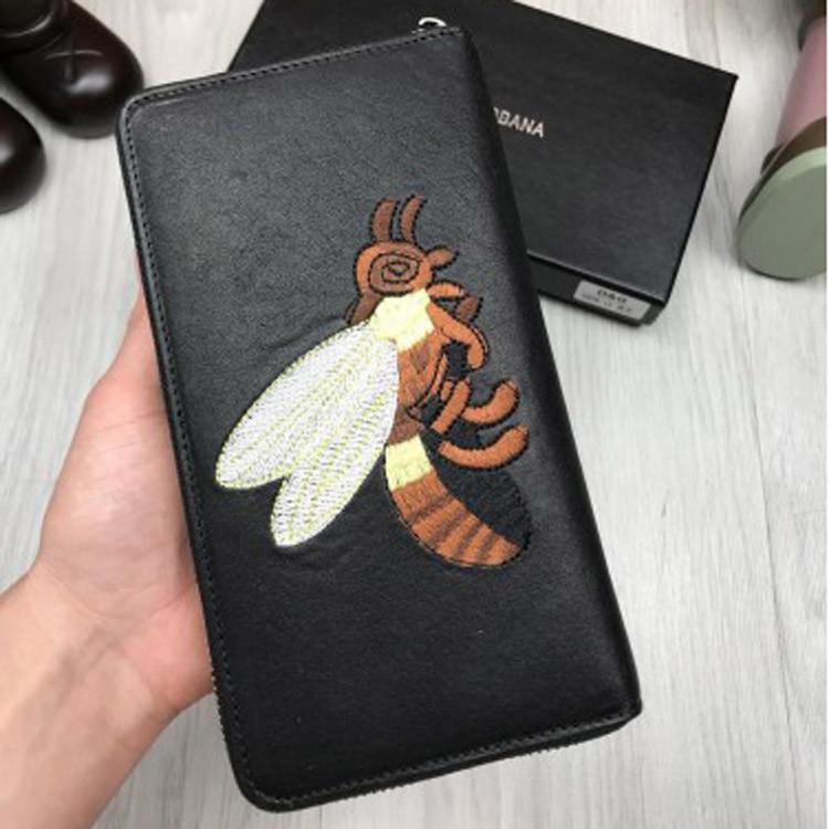 c48345a7f24d Кожаный кошелек Dolce & Gabbana черный клатч с декором пчелой кожа женский  мужской бумажник Дольче реплика