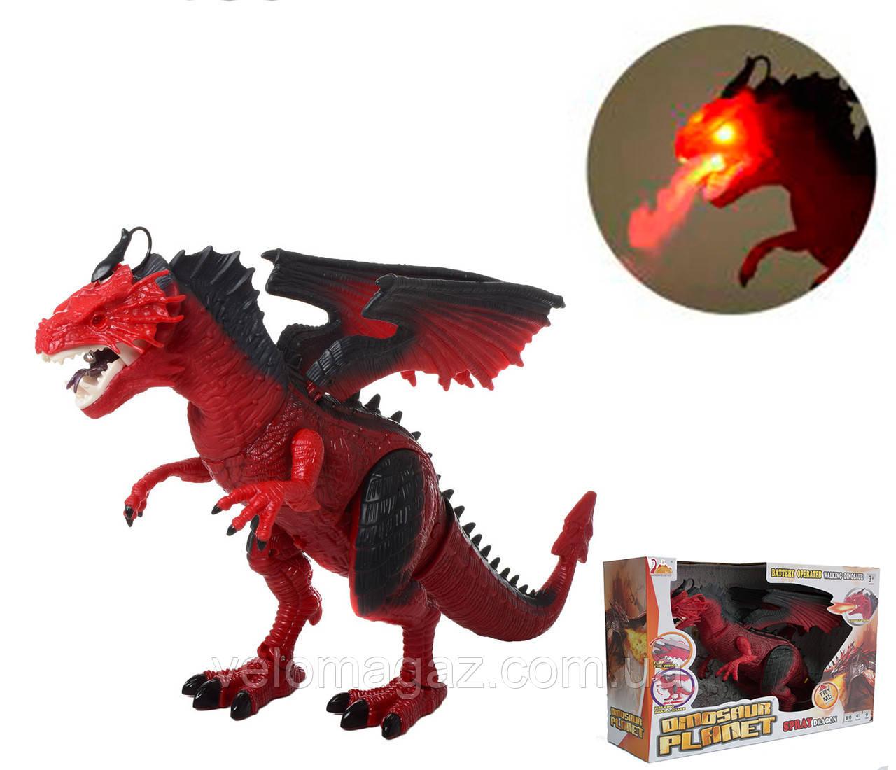 Динозавр RS6188A-9A, 48 см, пускает пар, ходит, двигает головой. Красный цвет.