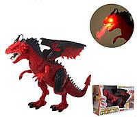 Динозавр RS6188A-9A, 48 см, пускает пар, ходит, двигает головой. Красный цвет., фото 1