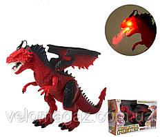 Динозавр RS6188A-9A, 48 см, пускає пар, ходить, рухає головою. Червоний колір.