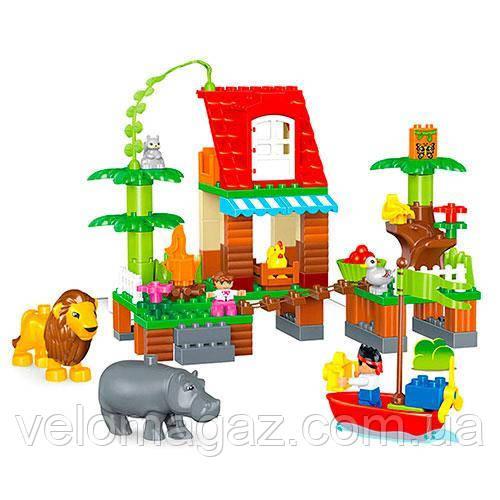 Детский конструктор 1302, зоопарк (86 дет.), 7 фигурок