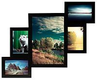 Мультирамка из дерева на 5 фото 62х48см (9 цветов)
