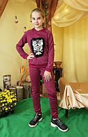 """Модный прогулочный костюм на девочку """"СОВА""""   р. 134-152, бордо"""