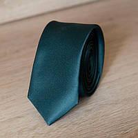 Галстук мужской узкий однотонный (темно-зеленый) | Lan Franko
