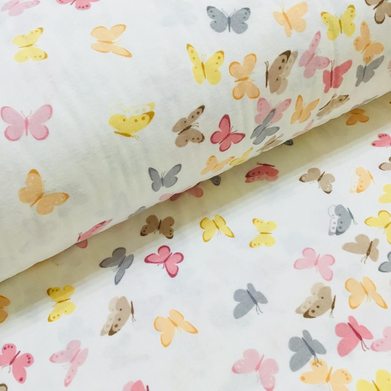 Фланелевая ткань бабочки желто-розовые на белом (шир. 2,4 м)