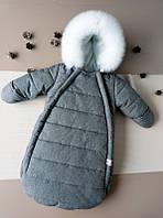 Теплый зимний комбинезон-конверт Jingle bells 0-6 месяцев