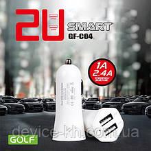 Адаптер автомобільний Golf 2 USB 2.4 A GF-C04