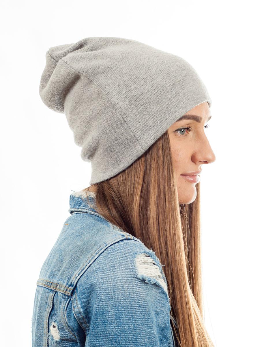 Зимняя шапка чулок светло-серая