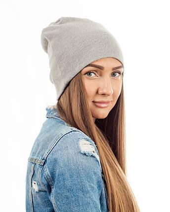 Зимняя шапка чулок светло-серая, фото 2
