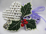 Лист падуба зеленый с белыми кончиками трилистник 18 грн - 10 шт, фото 6