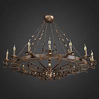 Люстра деревянная Колесо на цепи 16 ламп, дерево венге, металл патина бронза, D-145см, ФС 073