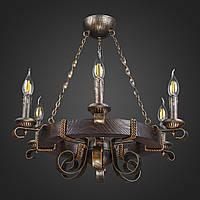 Люстра деревянная Колесо на цепи 6 ламп, дерево венге, металл патина бронза, D-60см, ФС 070