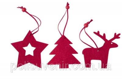 Набір новорічних прикраси для ялинки з повсті