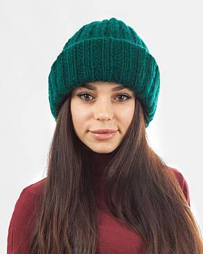 Вязаная шапка с отворотом зеленая, фото 2