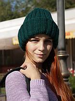 Вязаная шапка с отворотом зеленая, фото 3