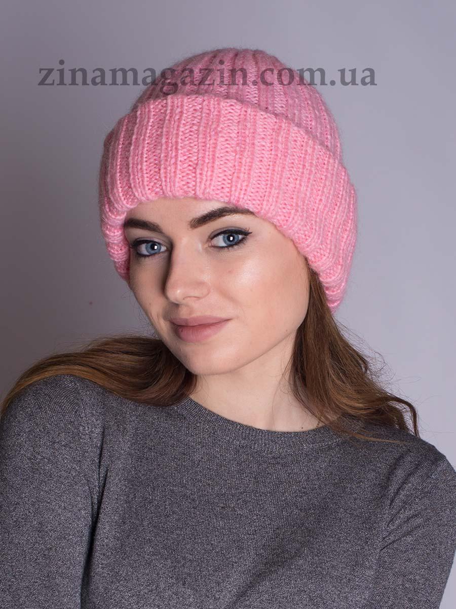 Вязаная шапка с отворотом розовая