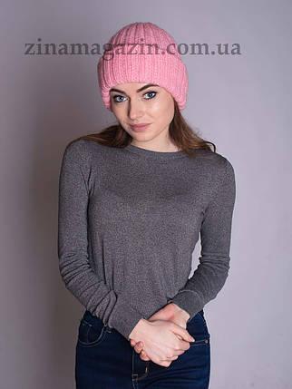 Вязаная шапка с отворотом розовая, фото 2