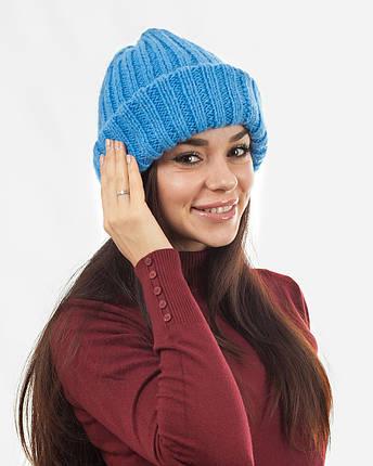 Вязаная шапка с отворотом голубая, фото 2