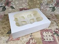 Коробка / 340х250х90 мм / Молочн / окно-обычн / для торта / БЕЗ ВКЛАДКИ ДЛЯ КЕКСОВ, фото 1