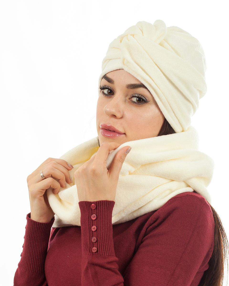 Тюрбан+шарф белый