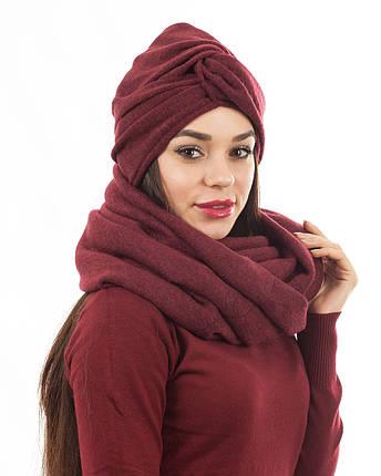 Тюрбан+шарф zinamagazin S-M-L бордо к706, фото 2