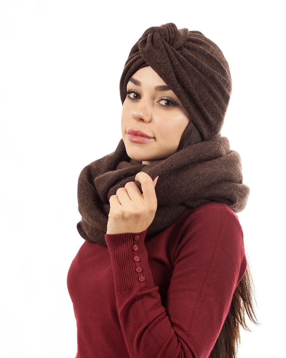 Тюрбан+шарф zinamagazin S-M-L коричневый к707