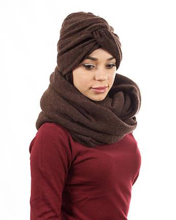 Тюрбан+шарф zinamagazin S-M-L коричневый к707, фото 2