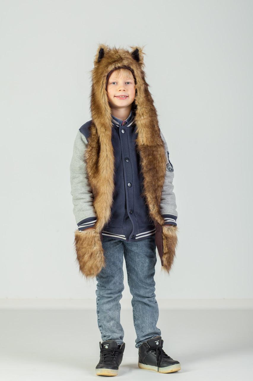 Детская волкошапка с варежкой