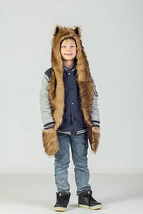 Детская волкошапка с варежкой , фото 2