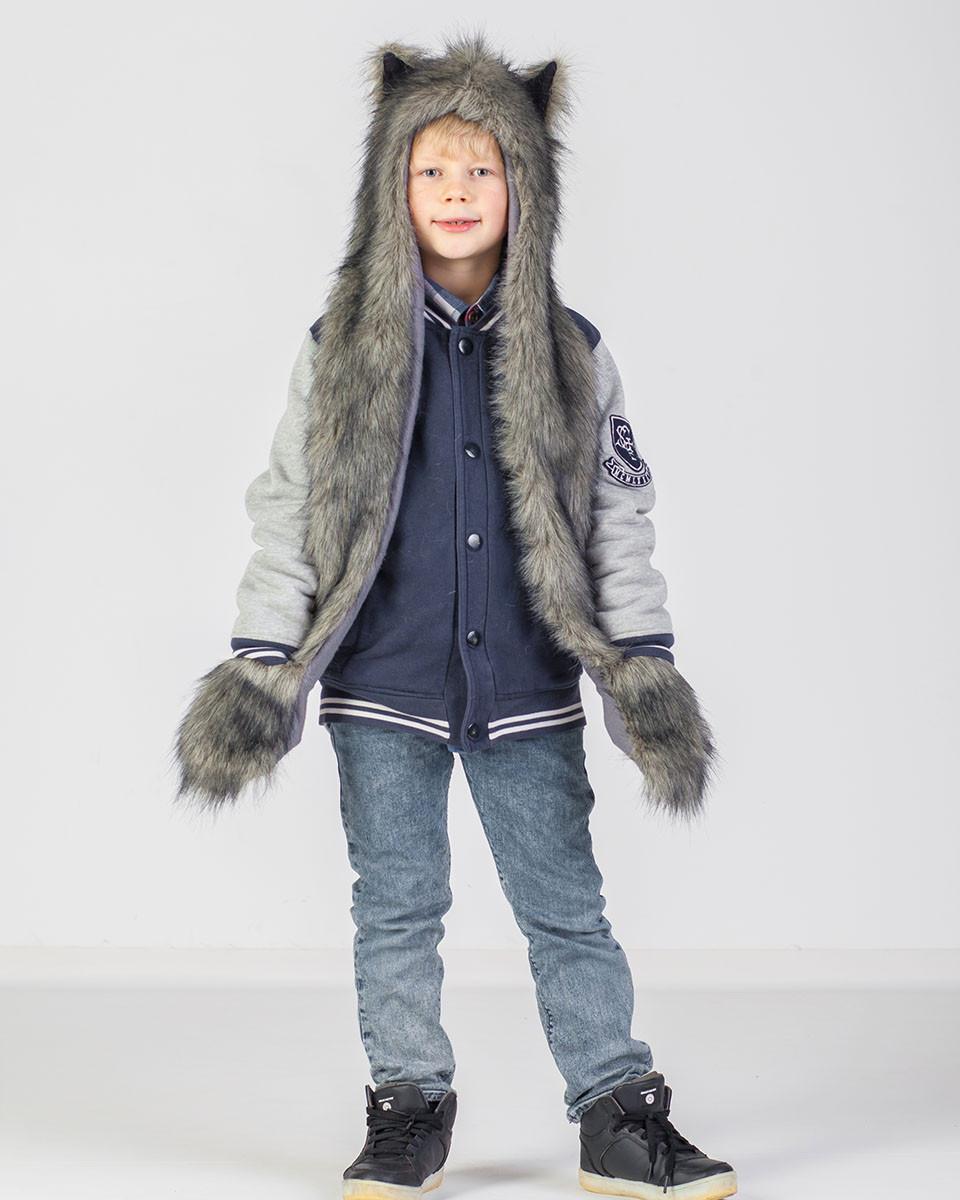 Детская волкошапка с варежкой волк